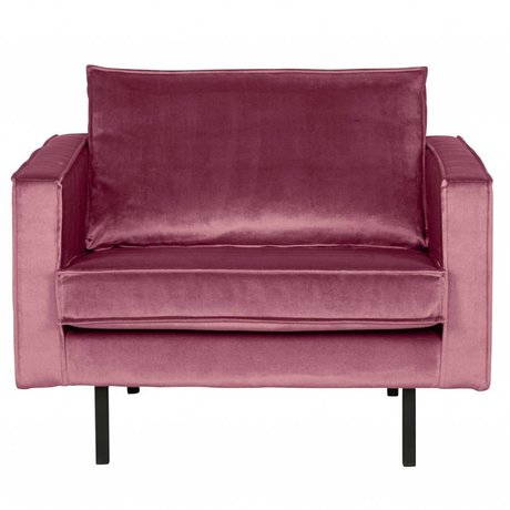 BePureHome Fauteuil Rodeo rose velours 105x86x85cm