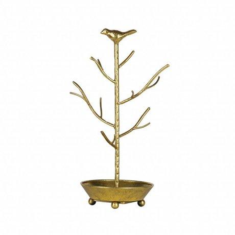BePureHome Porte-bijoux déco laiton antique couleur métal doré 40x25x25cm