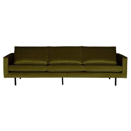 BePureHome Canapé Rodeo 3 places olive velours 85x277x86cm