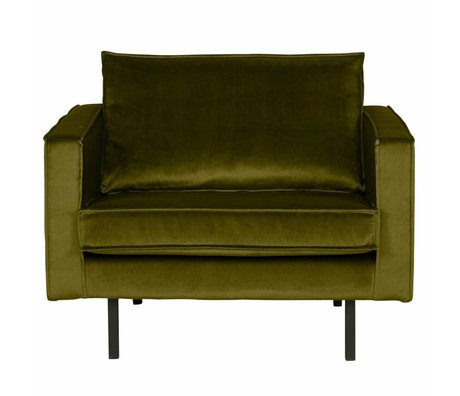 BePureHome Fauteuil Rodeo olive velours 105x86x85cm