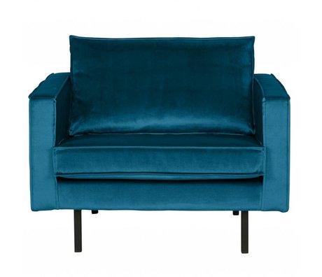 BePureHome Fauteuil Rodeo velours bleu 105x86x85cm