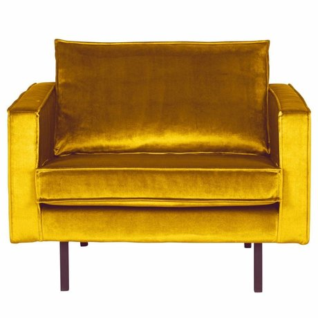 BePureHome Fauteuil Rodeo ocre-velours jaune 105x86x85cm