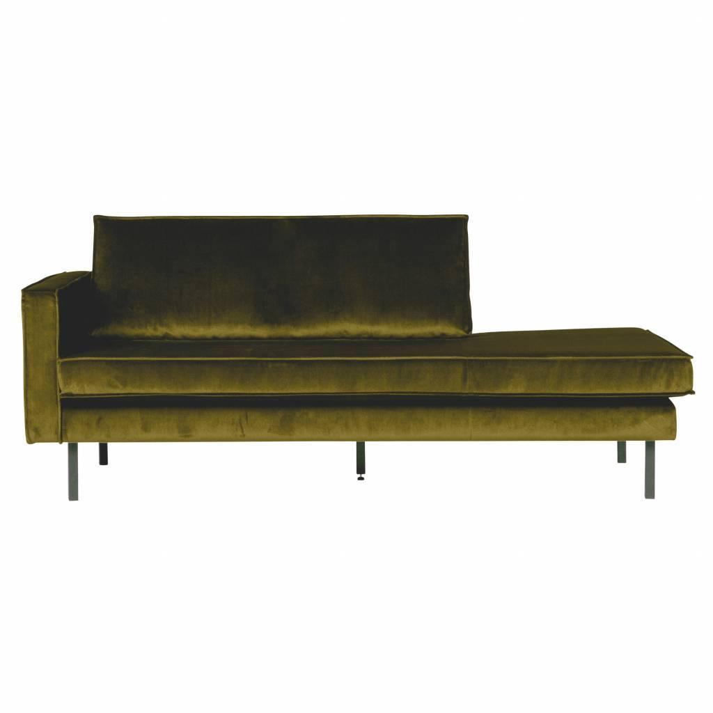 Sofa Daybed links olivgrün Samt 203x86x85cm - lefliving.de