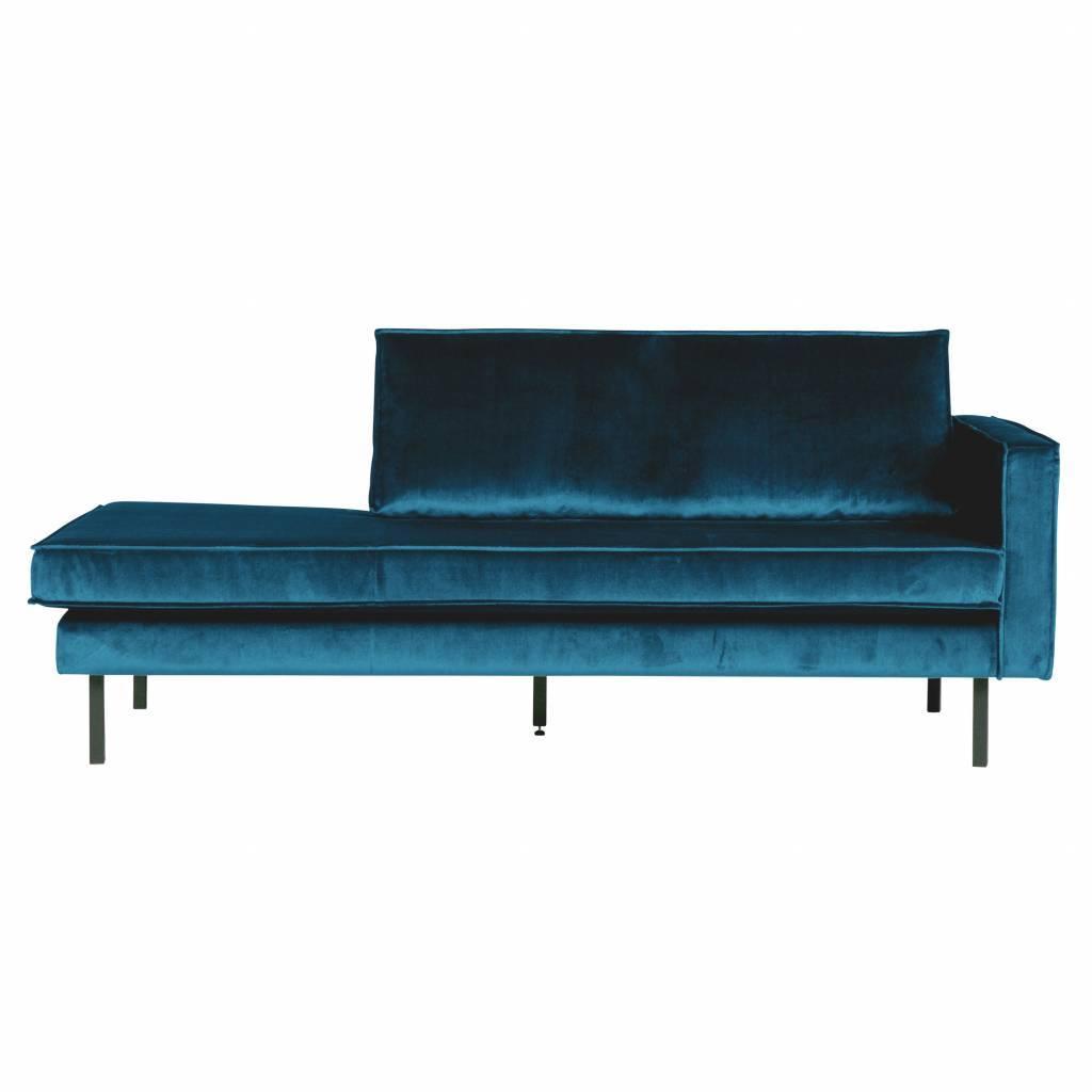 Divano daybed velluto blu destro 203x86x85cm for Divano velluto blu