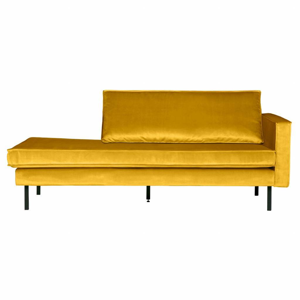 Sofa Daybed rechts ocker-gelb Samt 203x86x85cm - lefliving.de