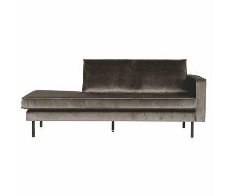 BePureHome Canapé Daybed droit taupe marron velours 203x86x85cm