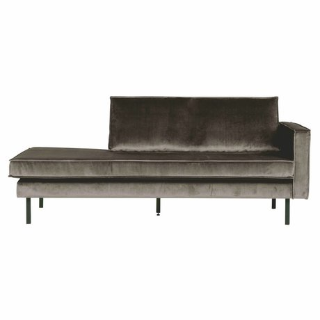 BePureHome Sofa Daybed rechts taupe braun Samt 203x86x85cm