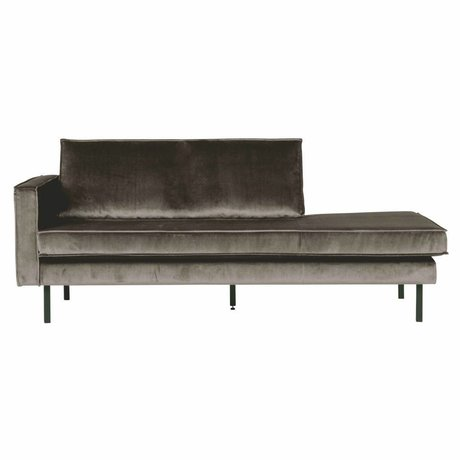 BePureHome Sofa Daybed links taupe braun Samt 203x86x85cm