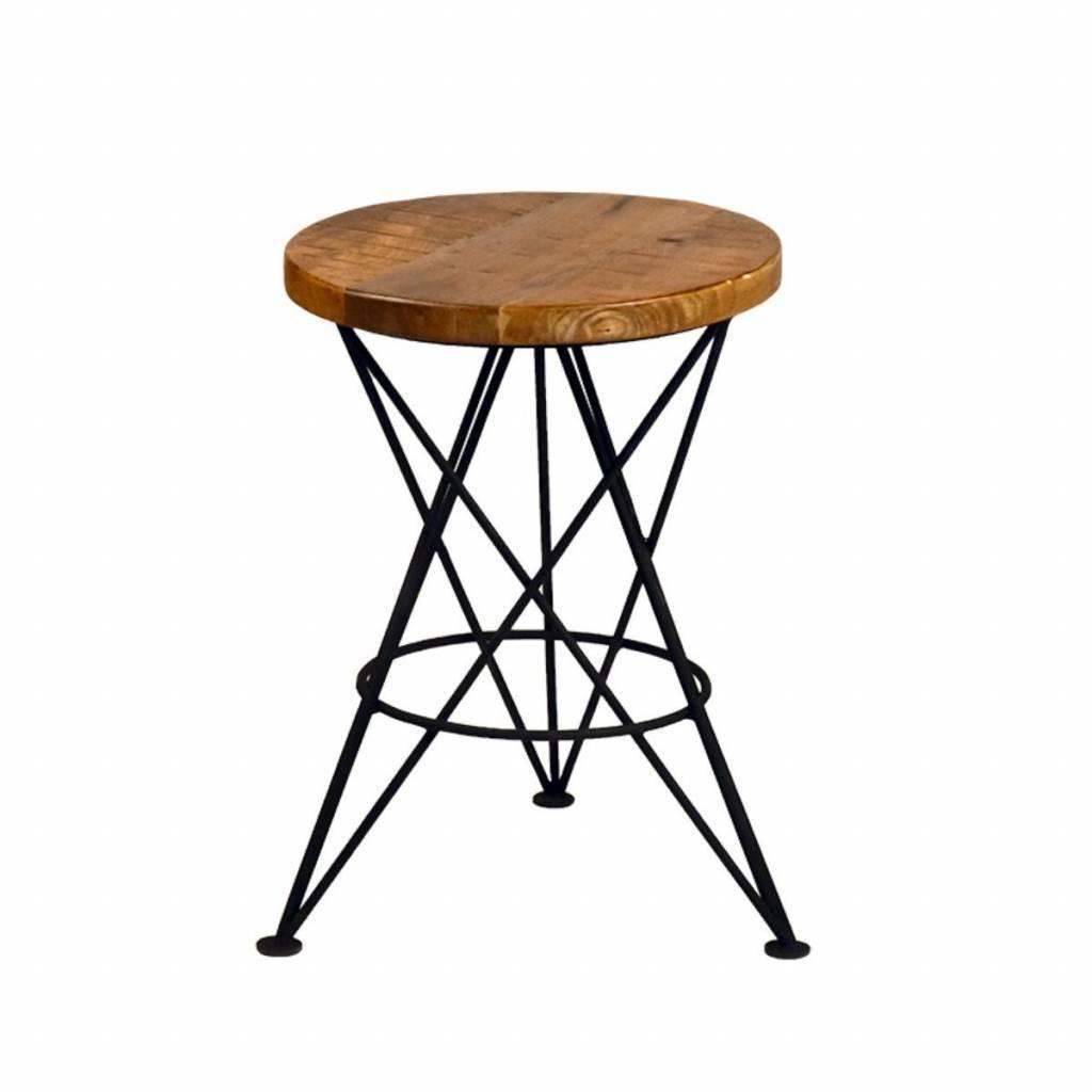 tabouret paris m tal noir bois 35x35x52cm. Black Bedroom Furniture Sets. Home Design Ideas