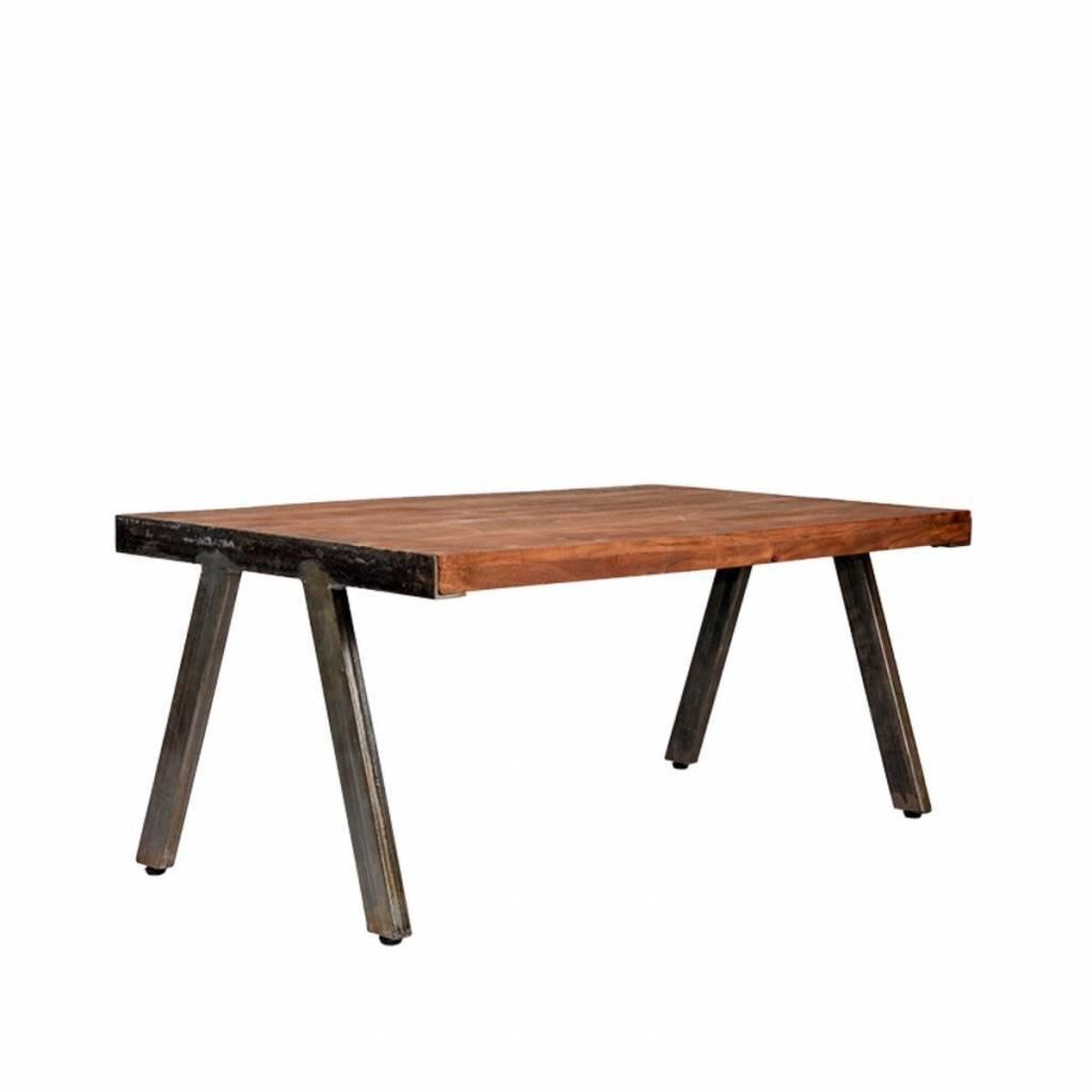 Table De Salon Levi Brun Bois Métal 100x60x44cm Leflivingcom