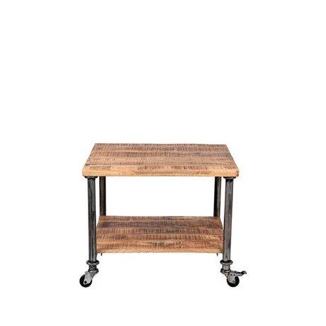 LEF collections Table d'appoint métal Flex bois brun 60x60x45cm