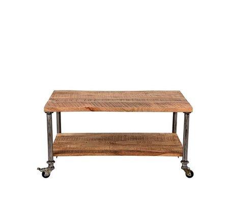 LEF collections Table basse en métal Flex bois brun 90x60x45cm