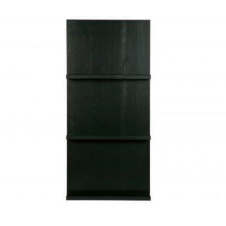 vtwonen Magazine rack hængende sort træ 120x56x10cm