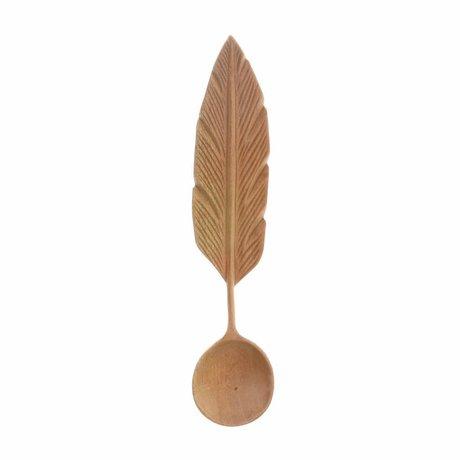 HK-living Håndskåret sked Veer brunt træ 19x4x2,5cm