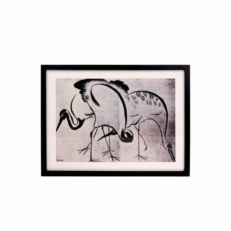 HK-living Kunsttryk Kraner sort hvid 31,5x41,52,5cm