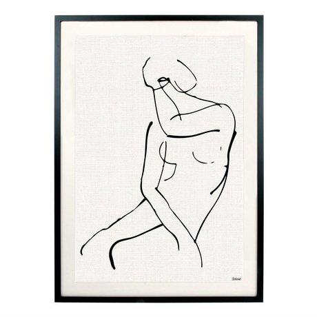 HK-living Kunstdruck Frau schwarz weiß Metall Glas 72x51,5x2,5cm