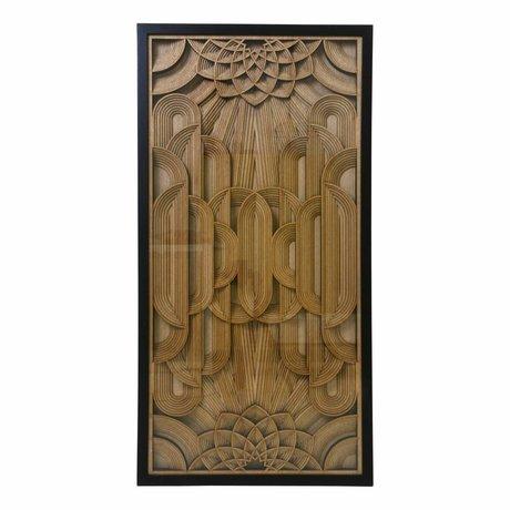 HK-living Art Liste sculpture sur bois brun 120x60x6cm