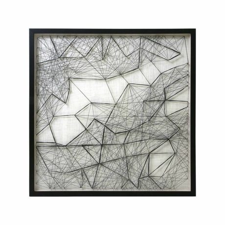 HK-living Kunstrame reb arbejde sort hvidt reb metal 90x90x6cm