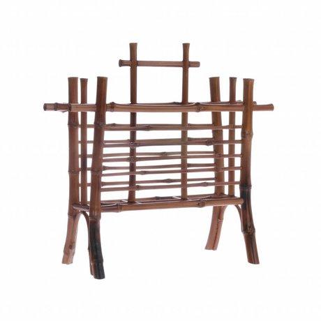 HK-living Porte-lettre bambou marron 27,5x11,5x26cm