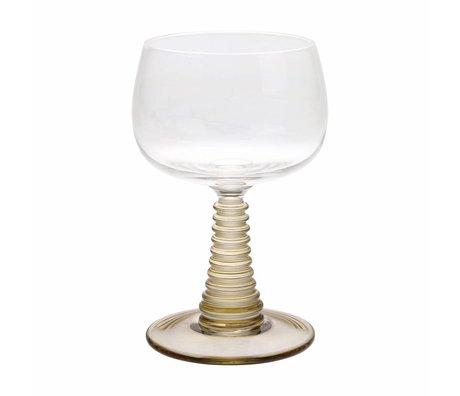 HK-living Verre à vin avec pied tourné verre vert 8,5x8,5x13,5cm