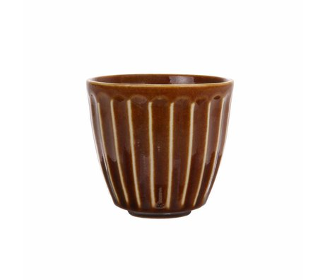 HK-living Becher Kyoto braun gestreift Keramik 8,5x8,5x8cm