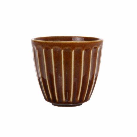 HK-living Mug Kyoto rayé en céramique marron 8,5x8,5x8cm