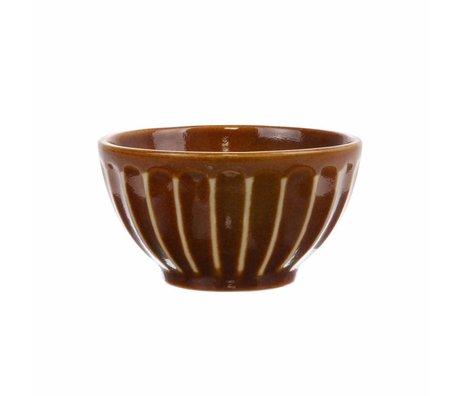 HK-living Schüssel Kyoto braun gestreift Keramik 11x11x6cm
