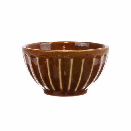 HK-living Skål Kyoto brun stribet keramik 11x11x6cm