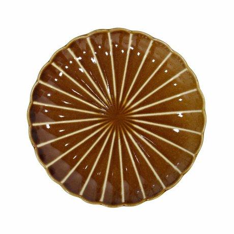HK-living Pastryplade Kyoto brun stribet keramik 20x20x3cm