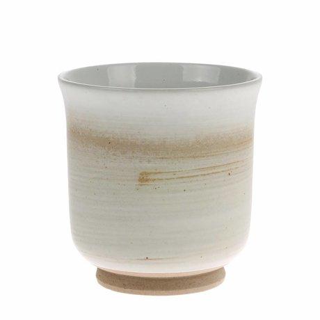 HK-living Mug Kyoto marron blanc céramique 8x8x8,5cm