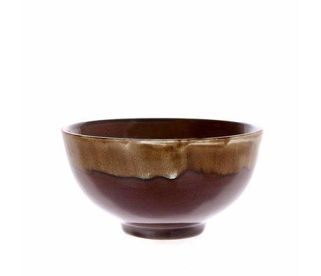 HK-living Bowl Kyoto med drypende virkning brun keramik 15x15x8cm