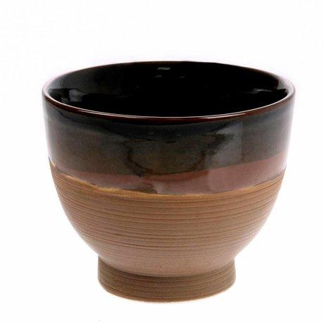HK-living Skål Kyoto suppe brun keramik 11x11x8,5cm