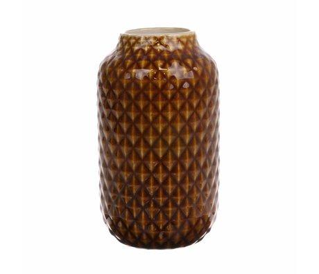HK-living Vase braun glasiert Keramik 10x10x18cm