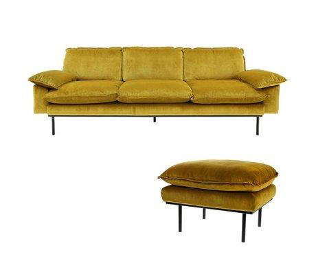 HK-living Sofa Trendy Ocher 3-seter gul fløjl 225x83x95cm + fæces