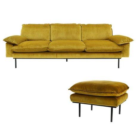 HK-living Sofa Trendy Ochre 4-Sitzer gelb Samt 245x83x95cm + Hocker