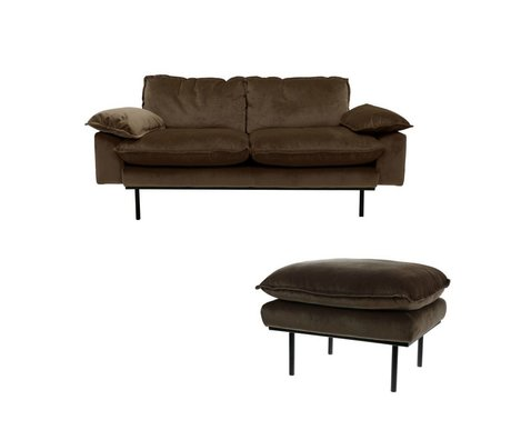 HK-living Sofa Natural Haze 2-sæders brun fløjl 175x83x95cm + fæces