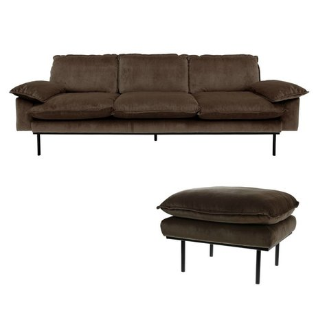 HK-living Bank Haze naturel 3 places velours marron 225x83x95cm + Hocker