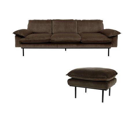 HK-living Sofa Natural Haze 4-sæders brun fløjl 245x83x95cm + fæces