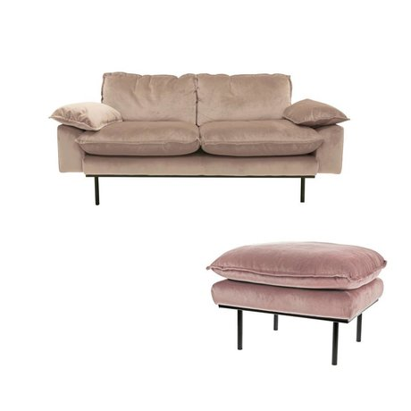 HK-living Sofa Daring Nude 2 seter pink fløjl 175x83x95cm + fæces