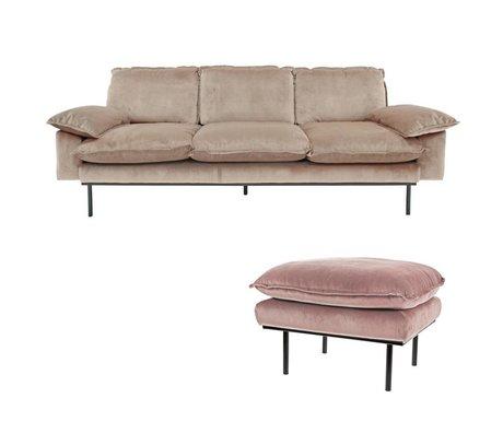 HK-living Sofa Daring Nude 3-seter pink fløjl 225x83x95cm + fæces