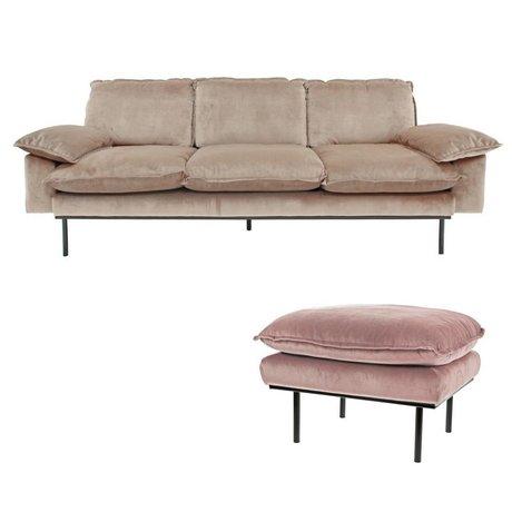 HK-living Sofa Daring Nude 3-Sitzer rosa Samt 225x83x95cm + Hocker