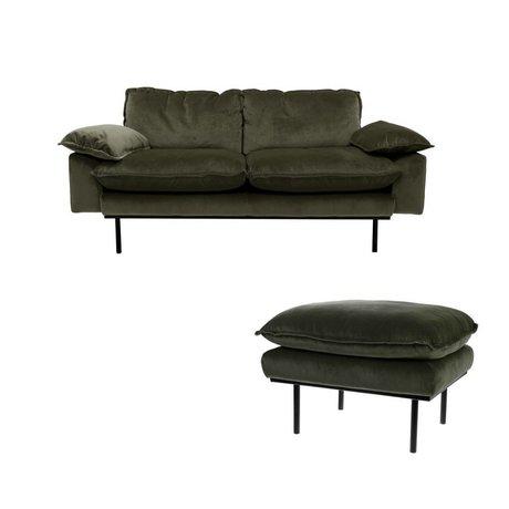 HK-living Sofa Hunter Green 2-Sitzer grün Samt 175x83x95cm+ Hocker