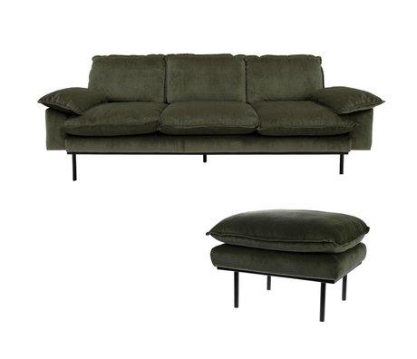 HK-living Sofa Hunter Green 3-seter grøn fløjl 225x83x95cm + fæces