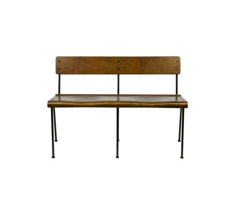 vtwonen Bank Teach braun Holz Metall 111x54,5x75cm