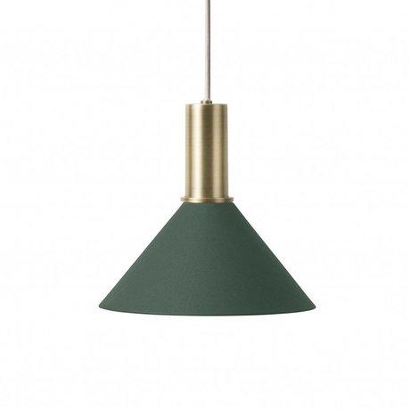 Ferm Living Hængelampe Cone Lav mørkegrøn messingfarvet guldmetal