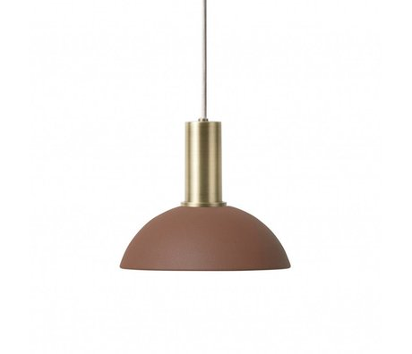 Ferm Living Lampe suspendue Hoop Basse rouge brun laiton couleur or métal