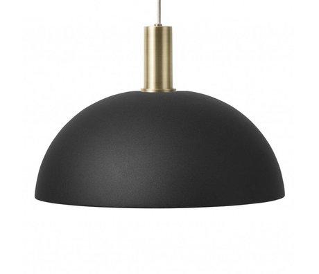 Ferm Living Lampe à suspension Dome Low laiton noir métal couleur or