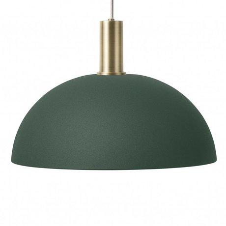 Ferm Living Lampe à Suspension Dôme Basse en laiton doré vert foncé