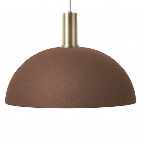 Ferm Living Lampe suspendue dôme bas rouge brun laiton couleur or métal