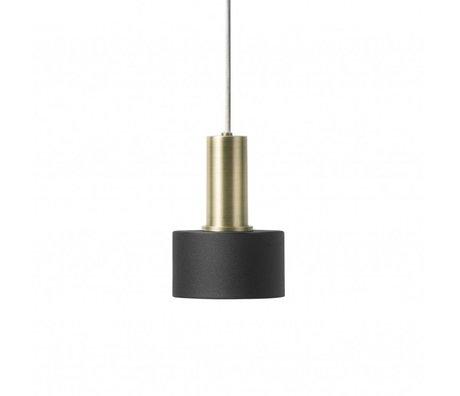 Ferm Living Hængelampe Disk Lavt sort messing farvet guldmetal
